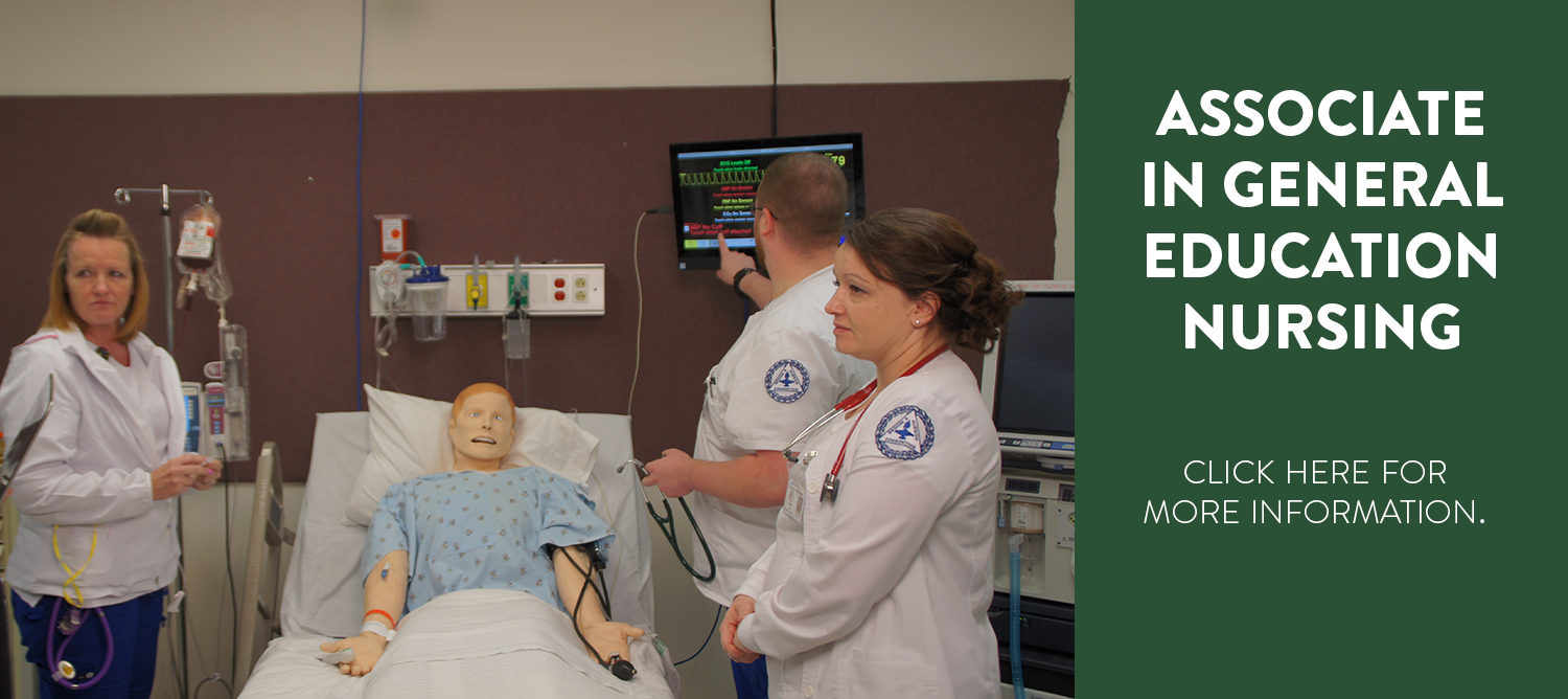 Nursing students work with a simulation mannequin to gain experience and practice skills. Associate in general education nursing, click here for more information.