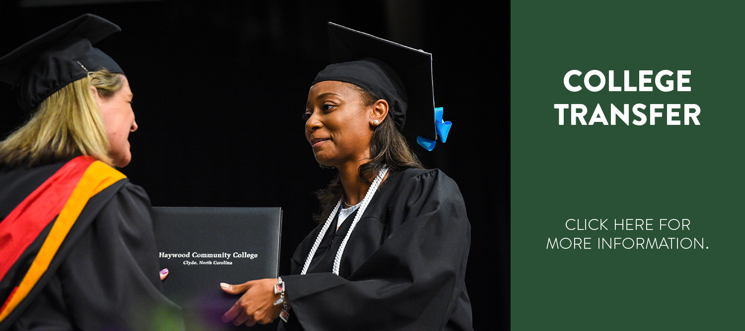 College graduate shaking hands and accepting diploma. College Transfer, click here for more information.