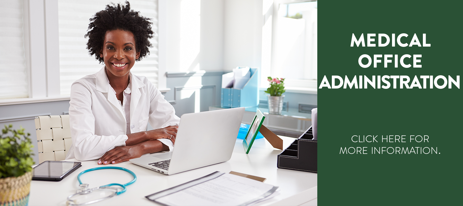 Medical professional, sitting at a desk. Medical Office Administration, click here for more information.