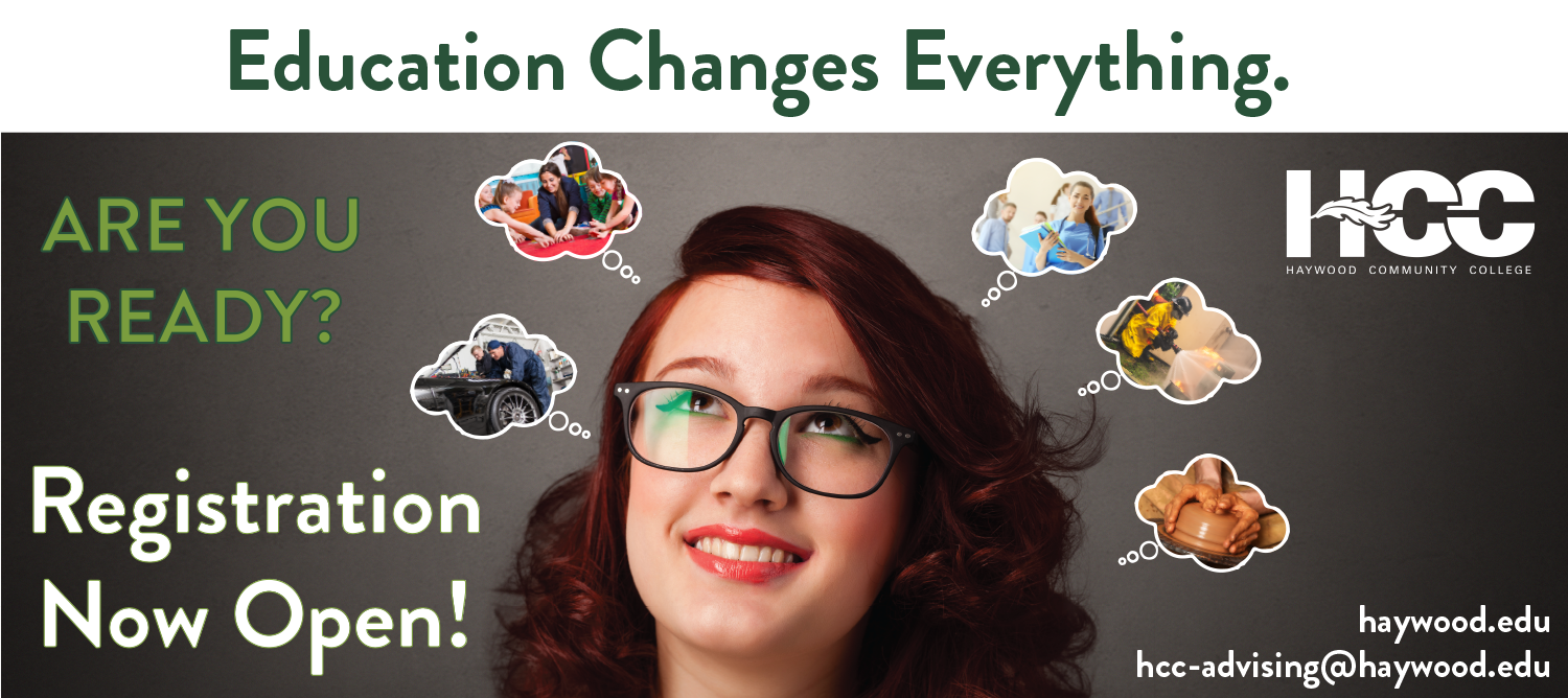 Education Changes Everything. Registration is now open. Are you ready? Image of girl with glasses under thought bubbles with images of different career choices inside.
