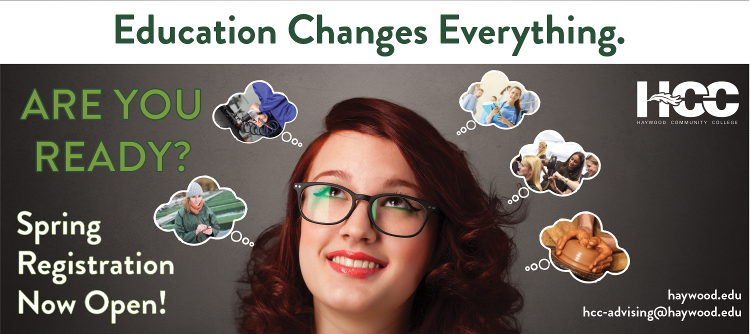Text on image, Spring Registration Now Open! Are you ready? Contact us at hcc-advising@haywood.edu for more information.  Image of girl wearing glasses with thought bubbles with images of career opportunities.