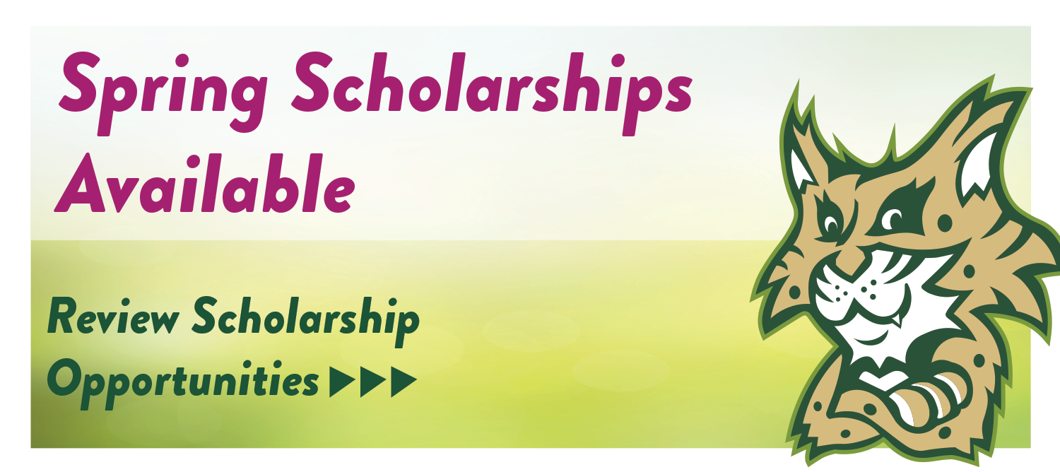Text on image, Spring Scholorships Available. Review Scholarship Opportunities. Follow the link for more details, https://haywood.academicworks.com/